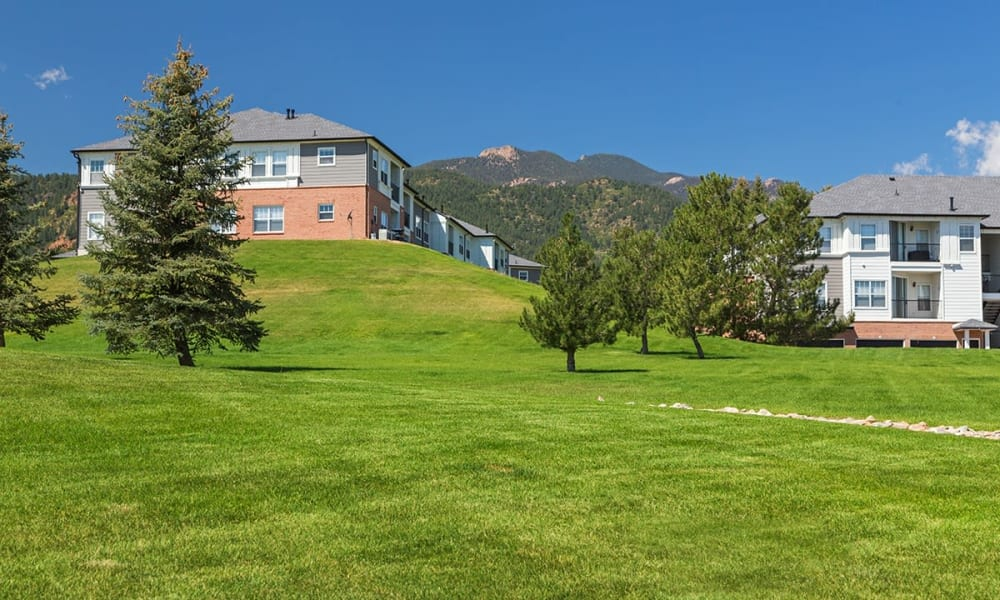 View of apartments at Retreat at Cheyenne Mountain Apartments in Colorado Springs, Colorado