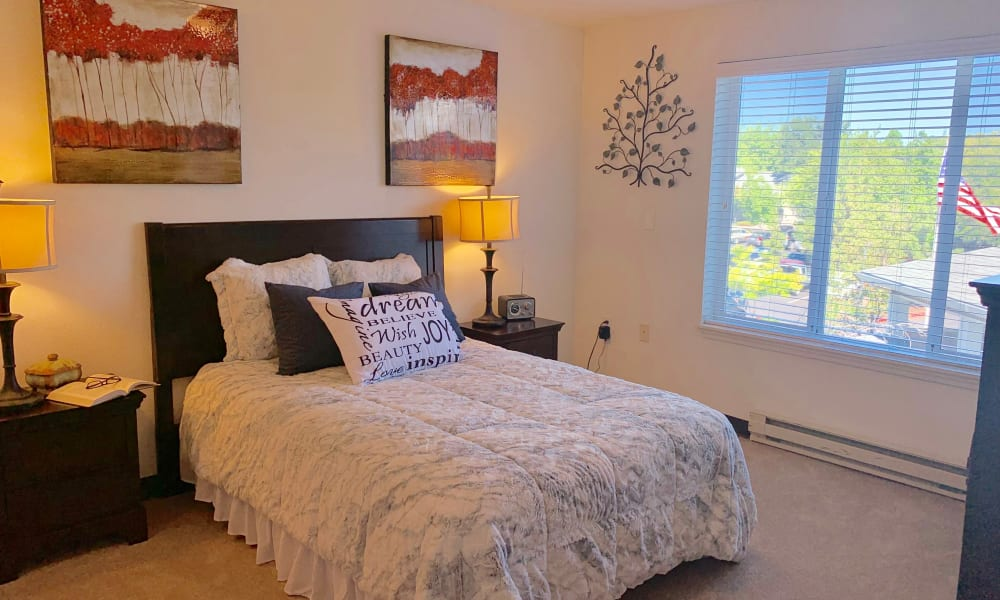 Model apartment bedroom Maple Ridge Senior Living