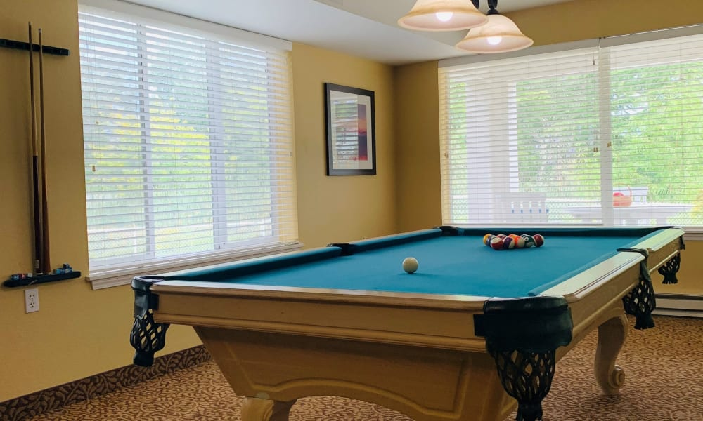 Pool table at Maple Ridge Senior Living