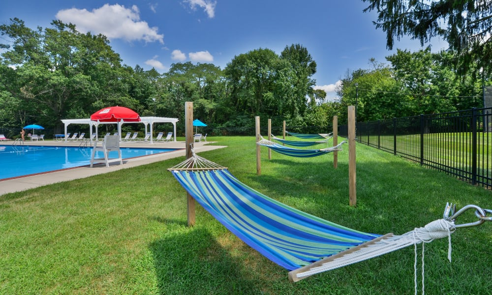 Our Apartments in Maple Shade, New Jersey offer a Pool with Hammock Lounge