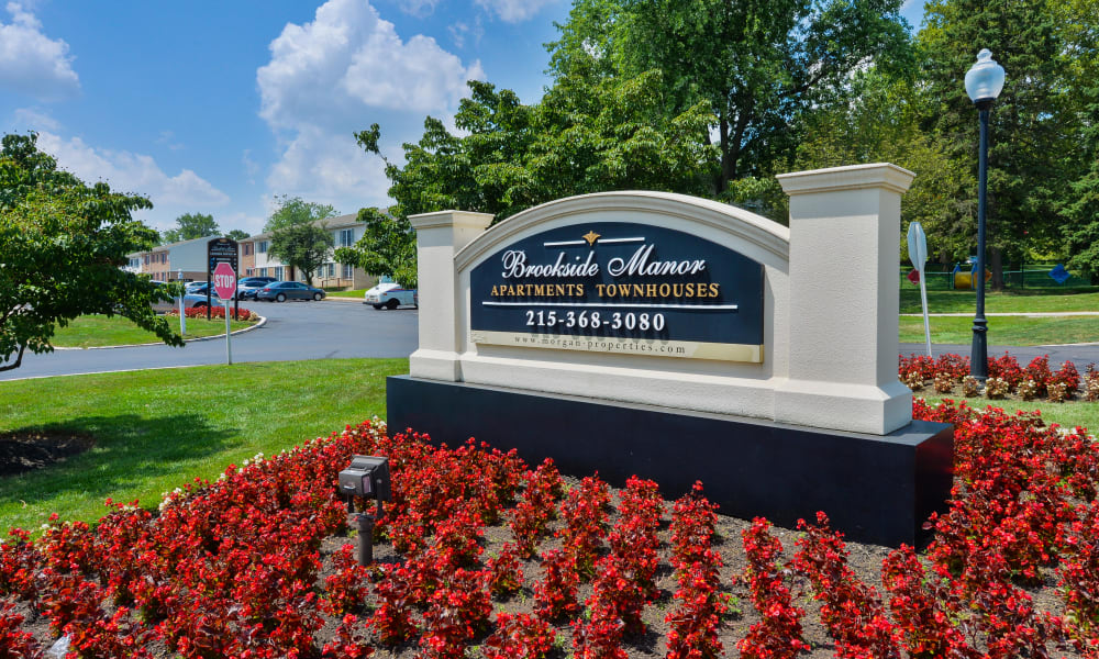 Entryway Signage of Brookside Manor Apartments & Townhomes | Apartments in Lansdale, Pennsylvania
