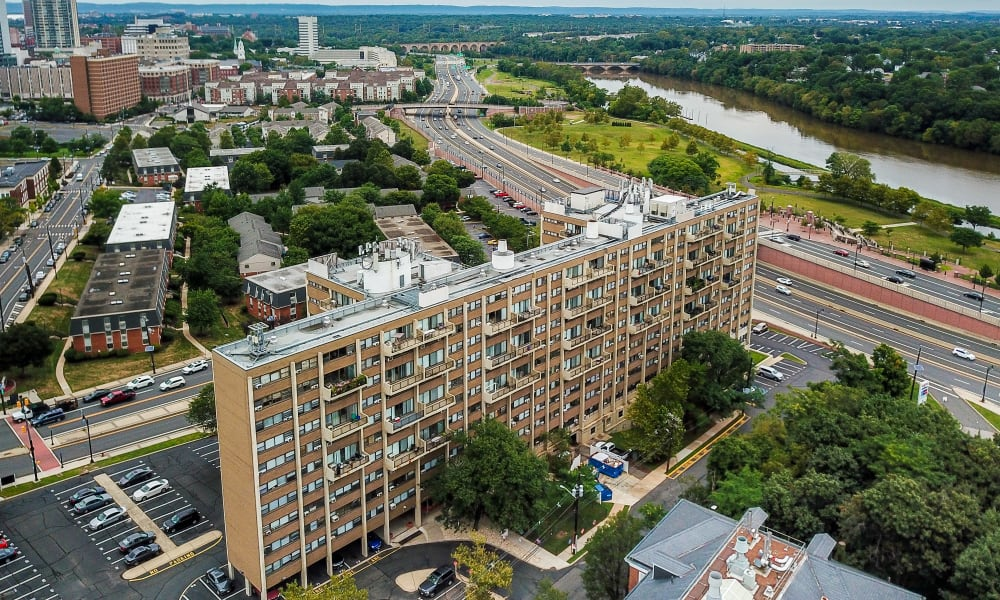Aerial View of Riverside Towers Apartment Homes | Apartments in New Brunswick, New Jersey