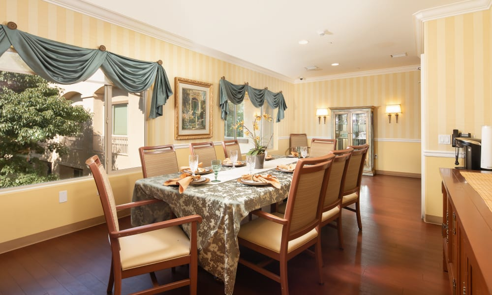 Private dining room at Vista Gardens in Vista, California