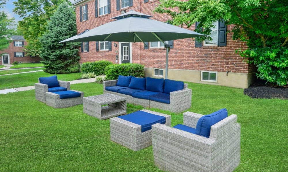 Outdoor seating available at The Villas at Bryn Mawr Apartment Homes in Bryn Mawr, Pennsylvania