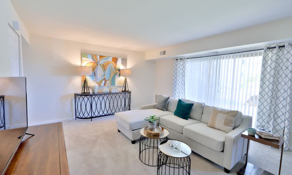 Spacious living room at Gwynn Oaks Landing Apartments & Townhomes, MD