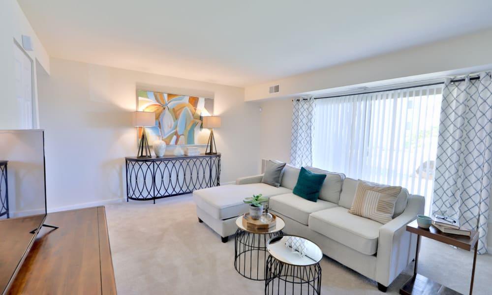Spacious living room at Gwynn Oaks Landing Apartments & Townhomes, MD
