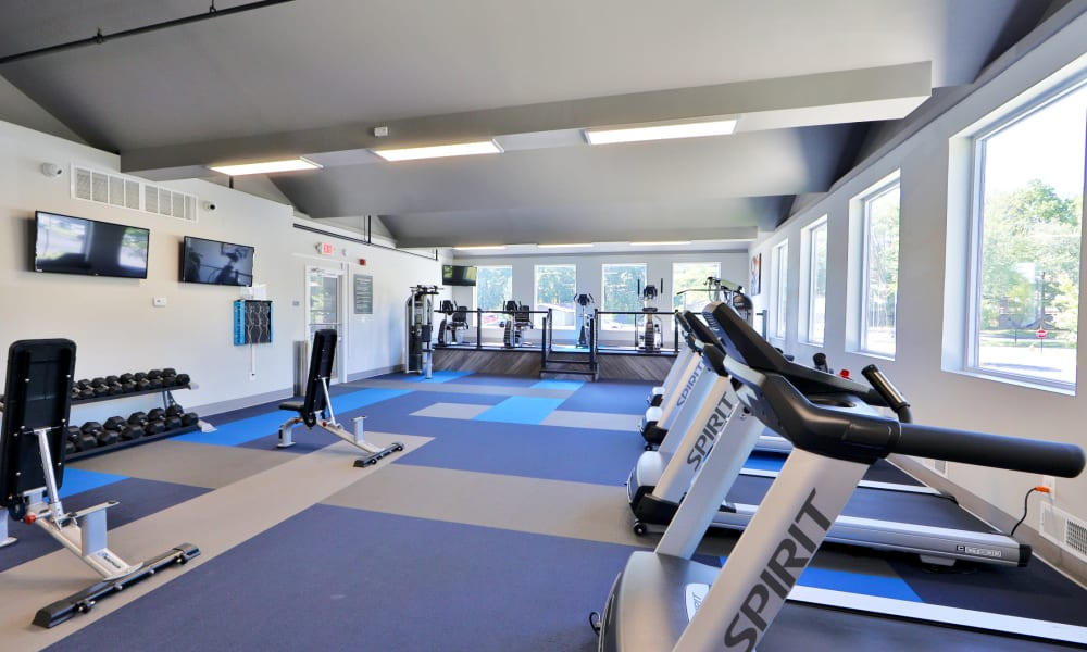 Spacious fitness center at Gwynn Oaks Landing Apartments & Townhomes, MD