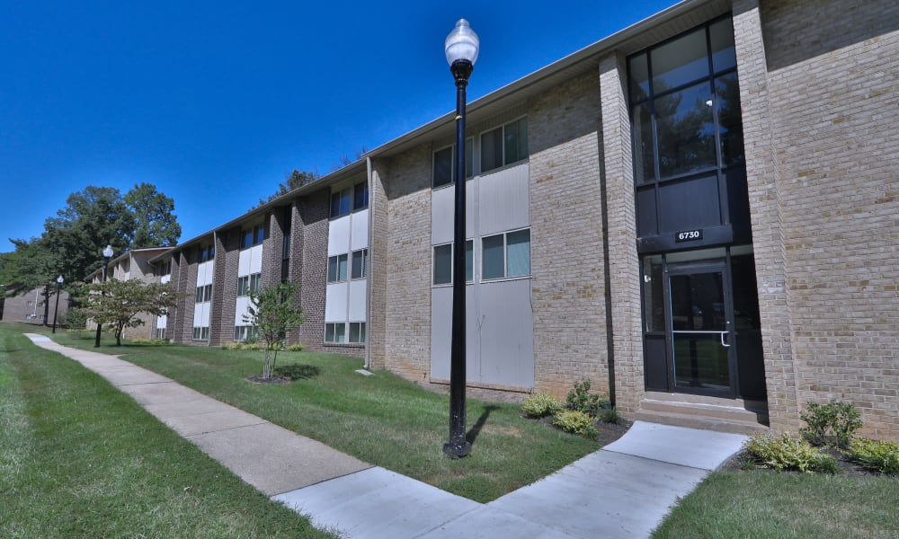 Landscaped exterior at Gwynn Oaks Landing Apartments & Townhomes, MD