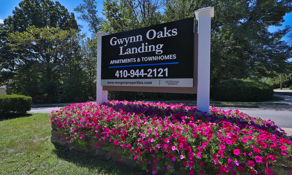 Apartments sign at Gwynn Oaks Landing Apartments & Townhomes, MD