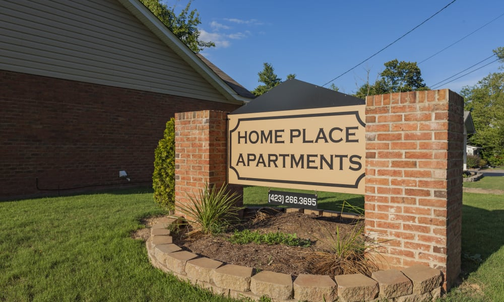 Sign for Home Place Apartments in Chattanooga, Tennessee