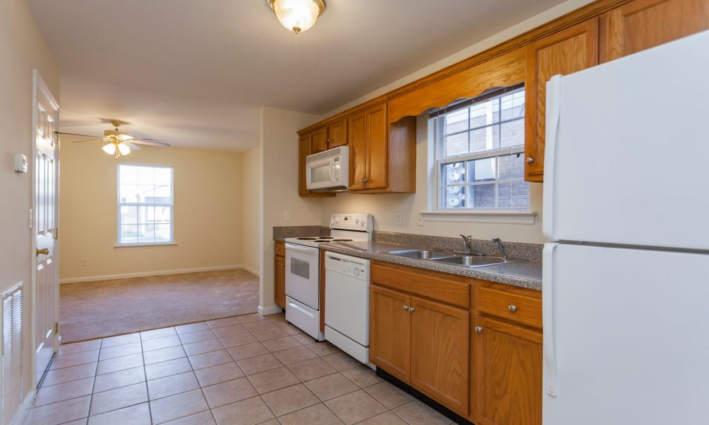Spacious kitchen at Home Place Apartments in Chattanooga, Tennessee