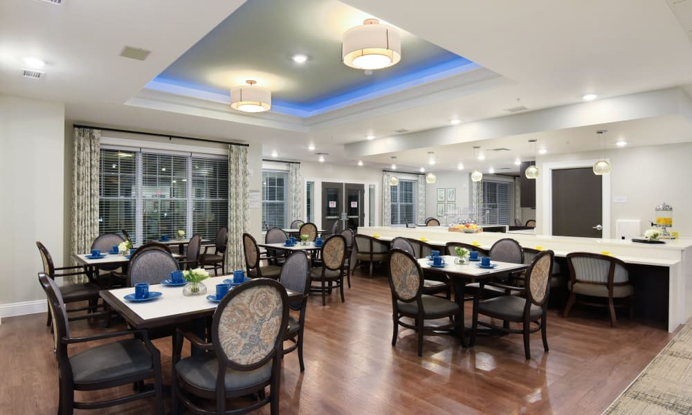 Dining area at Anthology of Rochester Hills in Rochester Hills, Michigan