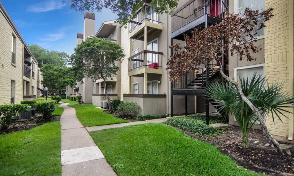 Apartments offer a private patio or balcony at Cambridge Place in Houston, Texas.