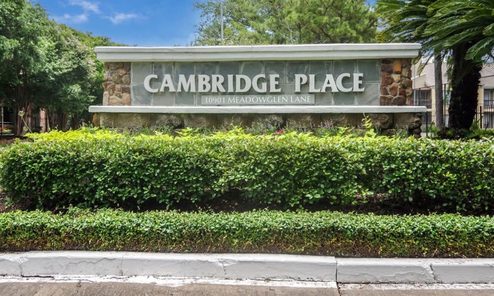 Entry and community sign at Cambridge Place in Houston, Texas.