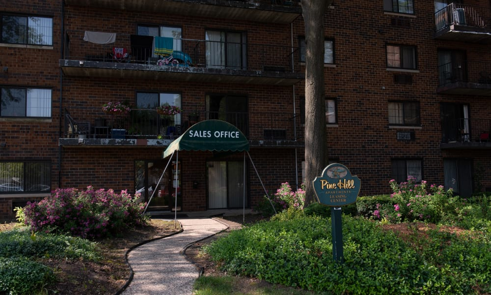 Exterior of Pine Hill Apartments in Wheeling, Illinois