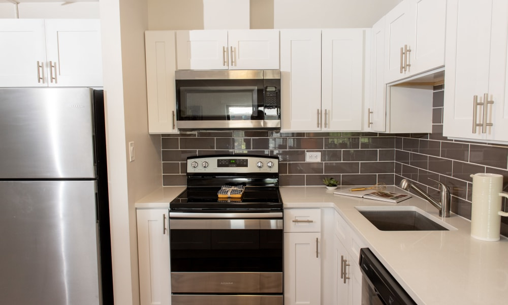 Stainless steel appliances at Pine Hill Apartments in Wheeling, Illinois