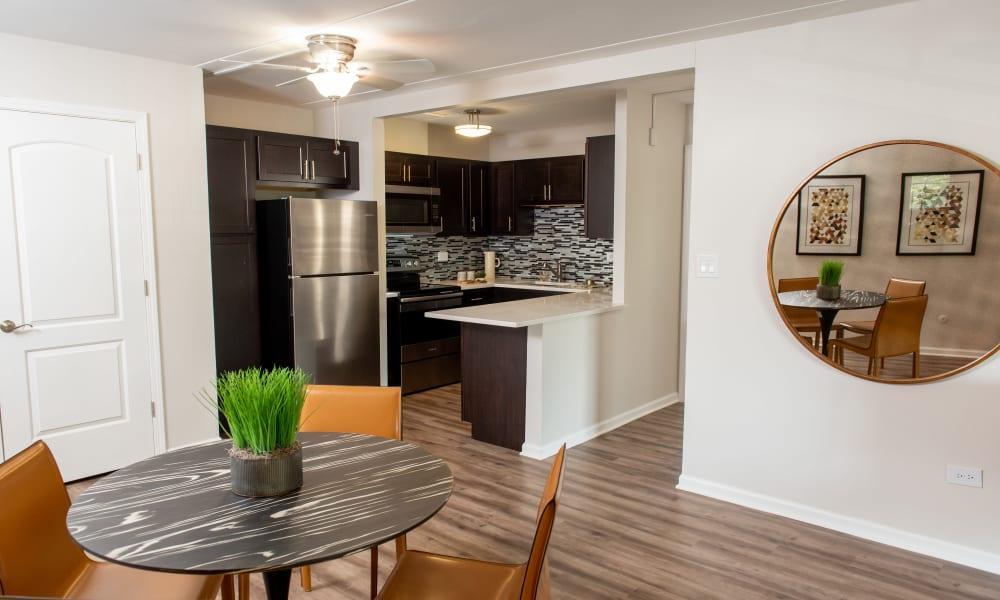 Kitchen bar at Pine Hill Apartments in Wheeling, Illinois