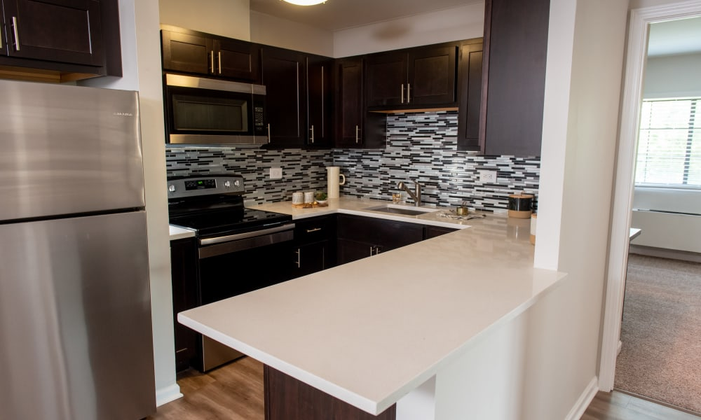 High end Pine Hill Apartments kitchen in Wheeling, Illinois