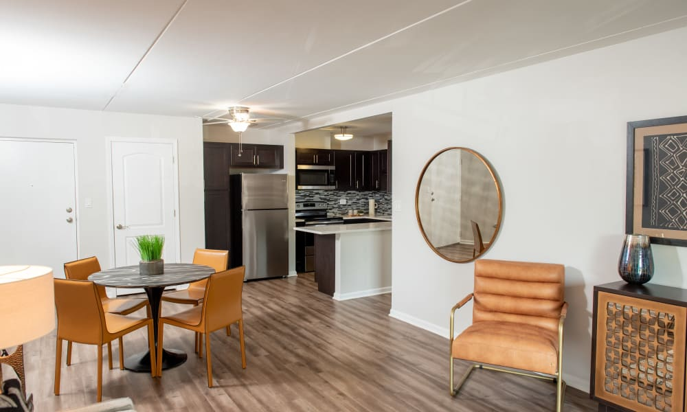 Dining area at Pine Hill Apartments in Wheeling, Illinois