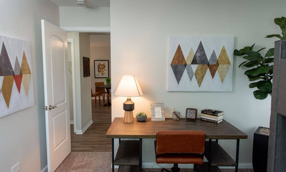 Desk at Pine Hill Apartments in Wheeling, Illinois