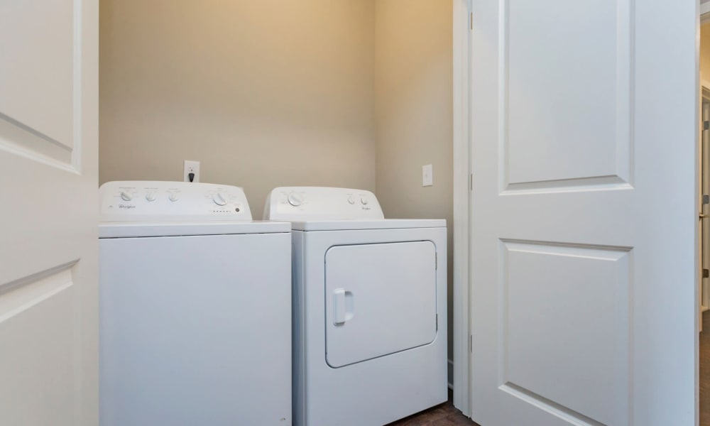 In-unit washer and dryer in a model home at Rivertop Apartments in Nashville, Tennessee