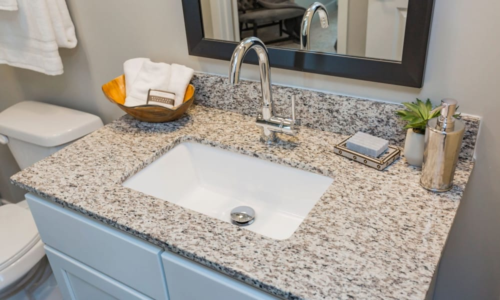 Master bathroom at Rivertop Apartments in Nashville, Tennessee