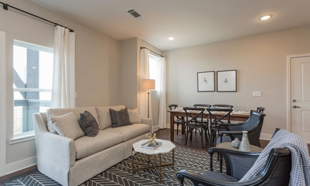 Living room in model home at Rivertop Apartments in Nashville, Tennessee