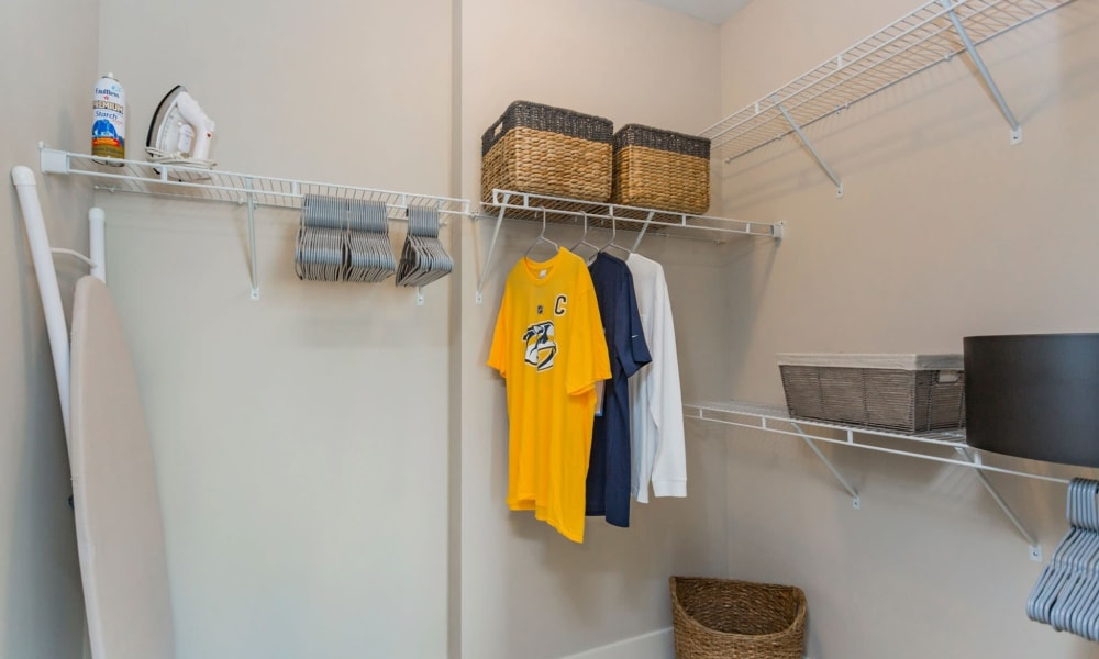 Laundry room in a model home at Rivertop Apartments in Nashville, Tennessee
