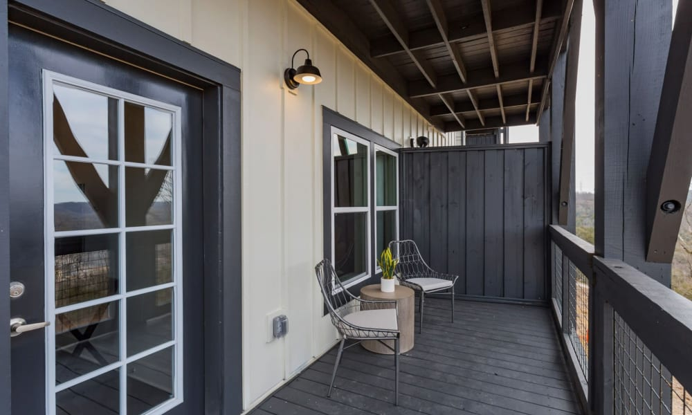 Covered balcony at Rivertop Apartments in Nashville, Tennessee