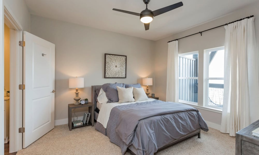 Master bedroom in model home at Rivertop Apartments in Nashville, Tennessee