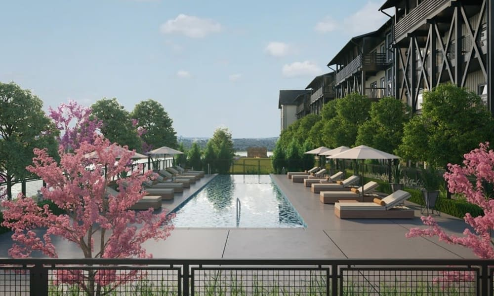 Swimming pool and lounge chairs at Rivertop Apartments in Nashville, Tennessee
