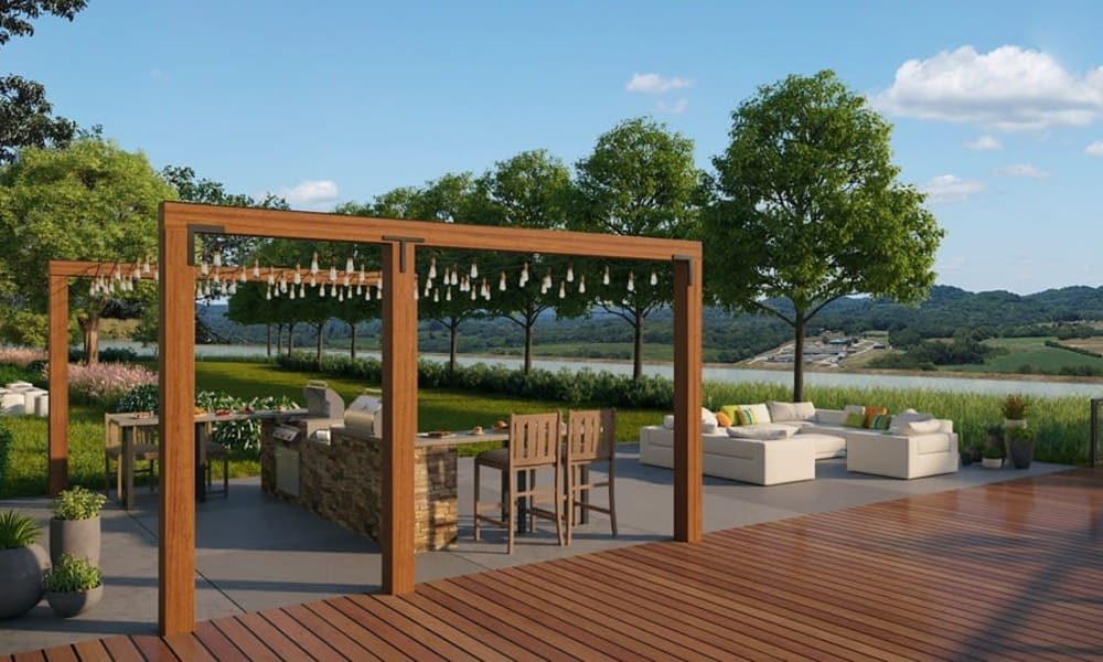 Outdoor seating at Rivertop Apartments in Nashville, Tennessee