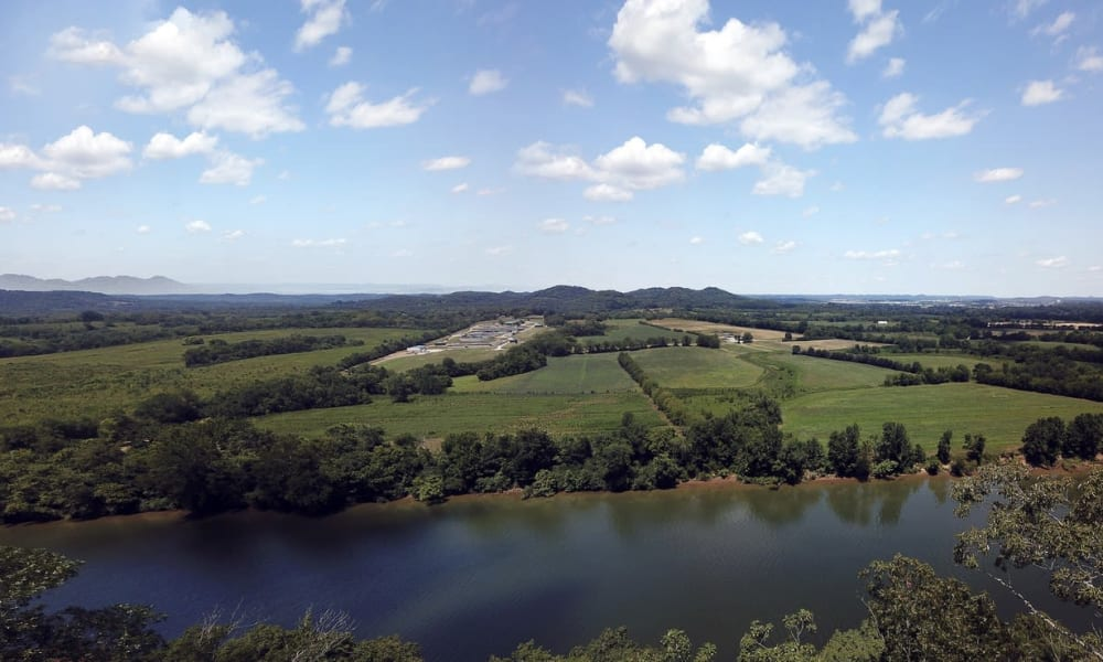 River and large fields next to Rivertop Apartments in Nashville, Tennessee