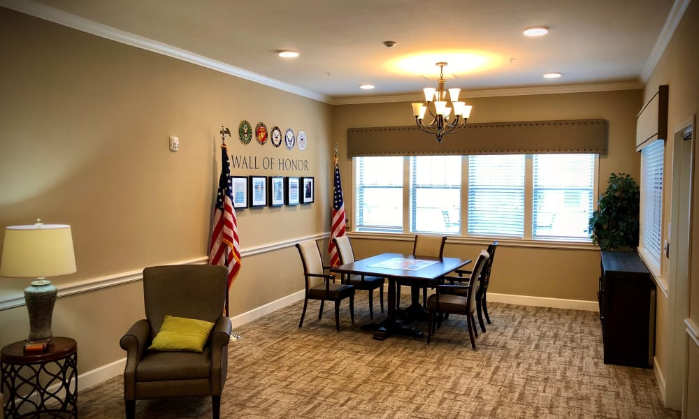 Wall of honor at Willow Creek Memory Care at Lee's Summit in Lee's Summit, Missouri