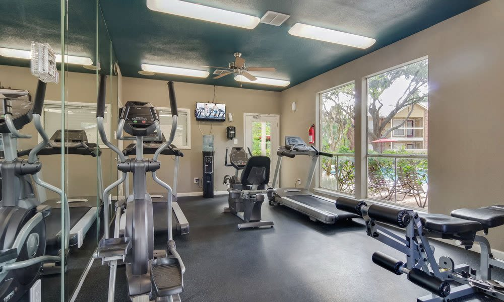 Fitness center for residents at Crystal Bay in Webster, Texas.
