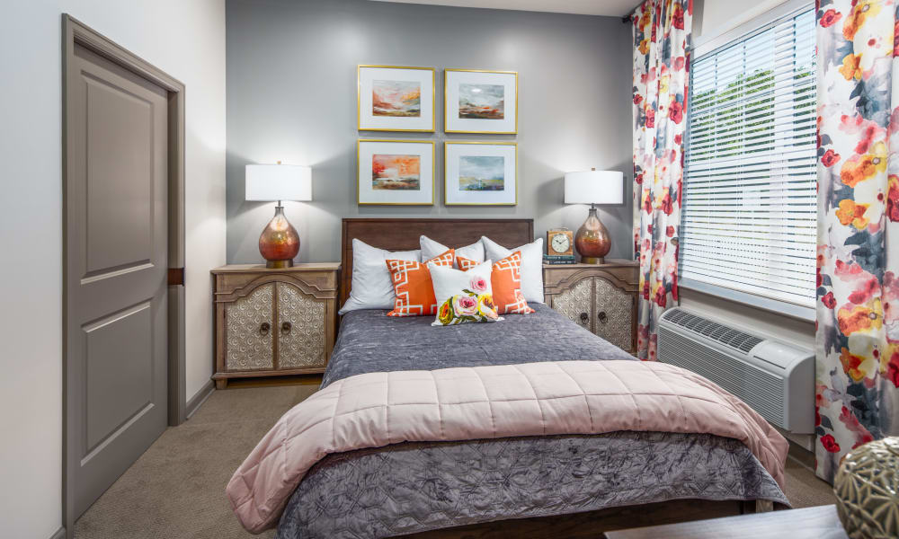 A bright apartment bedroom at Anthology of McCandless in Pittsburgh, Pennsylvania