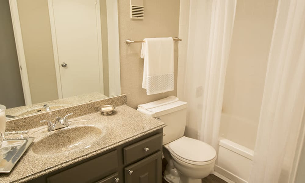 Spacious bathrooms at Stonecrossing of Westchase in Houston, Texas.