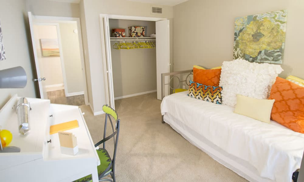 Resident bedroom at Stonecrossing of Westchase in Houston, Texas.