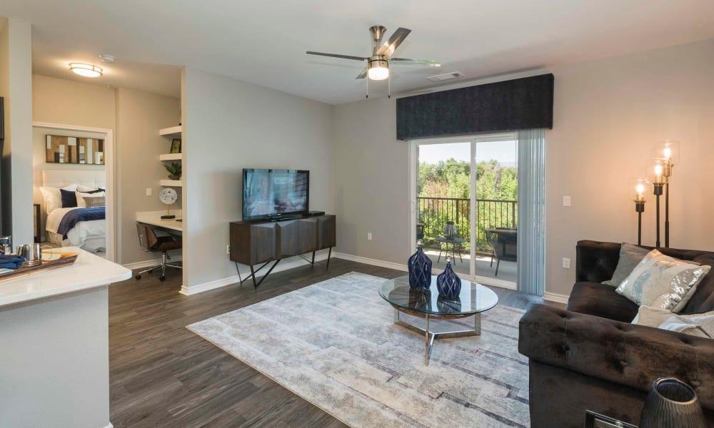 Spacious living room at Peaks at Woodmen Apartments