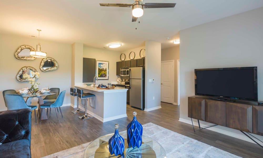 Living space at Peaks at Woodmen Apartments