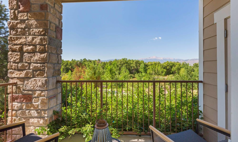Enjoy a beautiful view of the patio at Peaks at Woodmen Apartments
