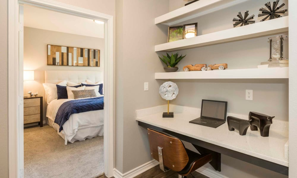 Built in desk space at Peaks at Woodmen Apartments