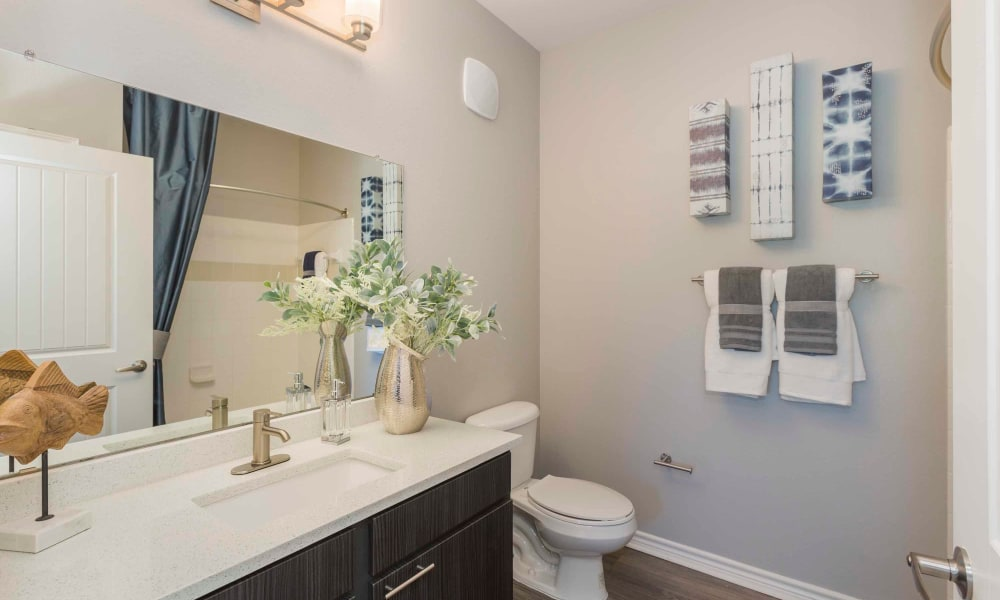 Bathroom at Peaks at Woodmen Apartments