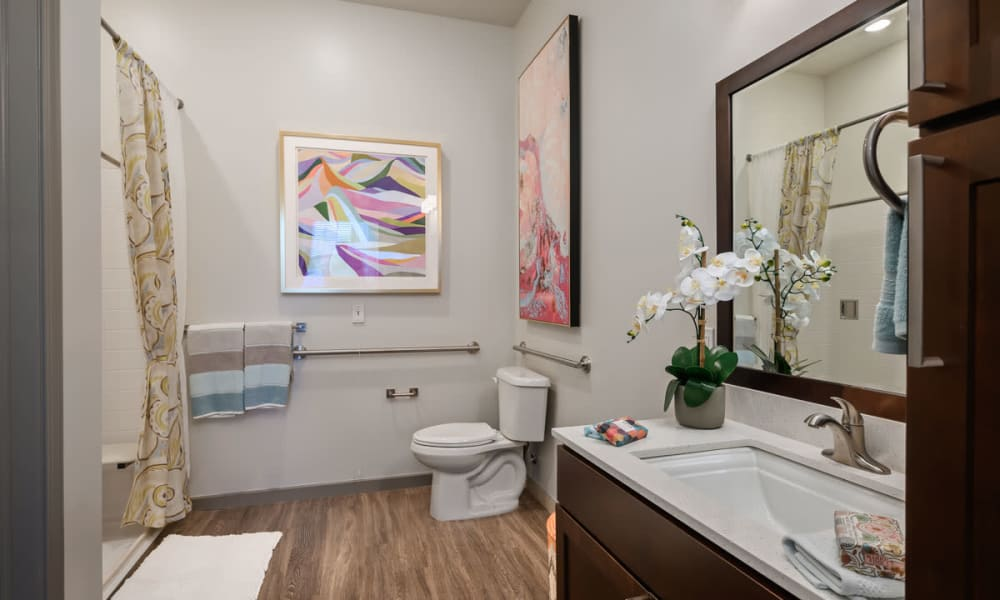 An accessible apartment bathroom at Anthology of Anderson Township in Cincinnati, Ohio