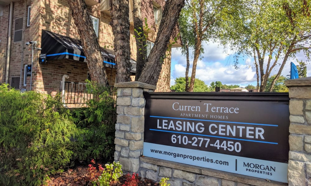 Leasing Office Sign at Curren Terrace in Norristown, Pennsylvania
