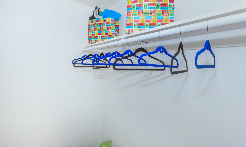An apartment closet at The Vibe at Clear Lake in Webster, Texas