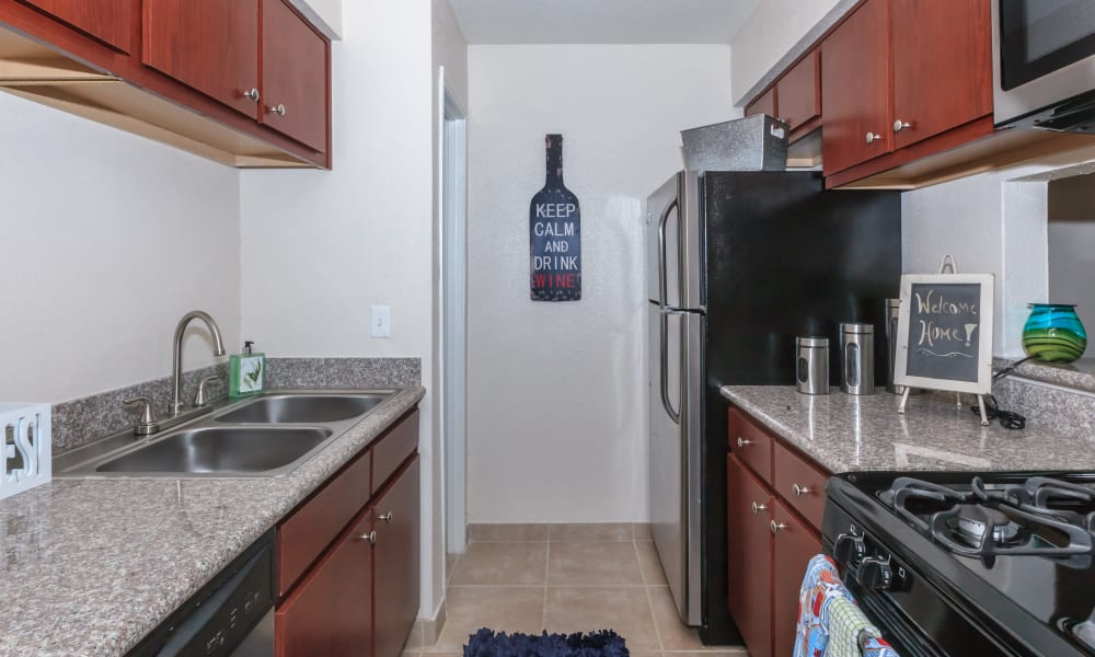 Plenty of counter space in an apartment kitchen at The Vibe at Clear Lake in Webster, Texas