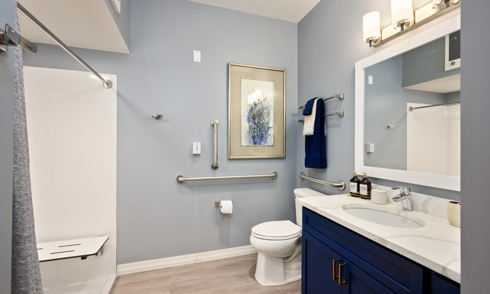 Large bathroom at  Anthology of Simsbury in Simsbury, Connecticut