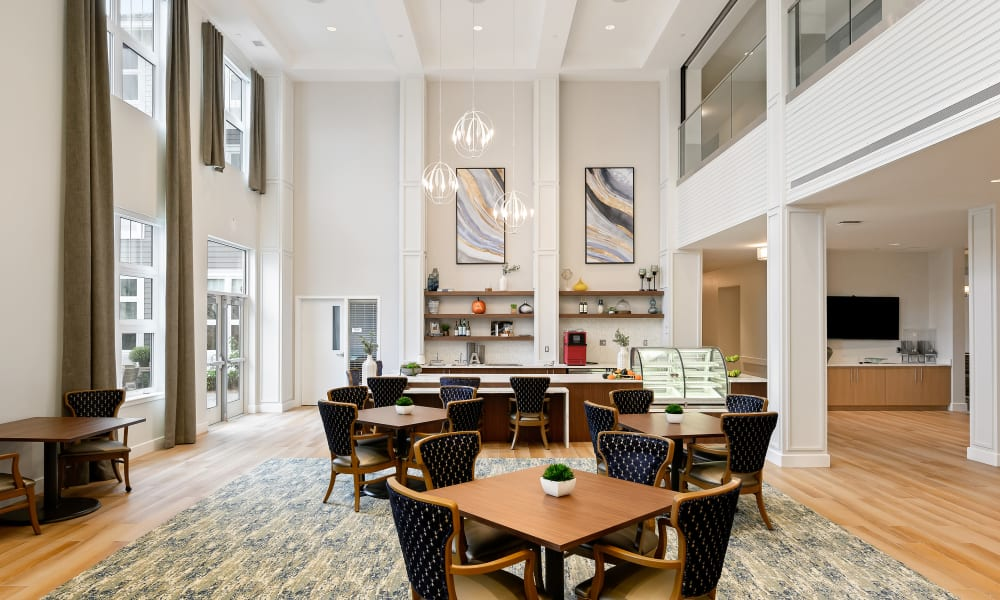 Large open community dining area at Anthology of Simsbury community in Simsbury, Connecticut