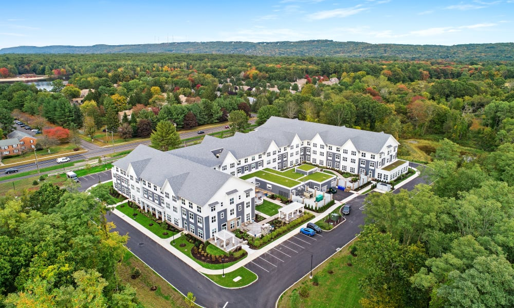 Aerial view of senior living community in Anthology of Farmington community in Farmington, Connecticut